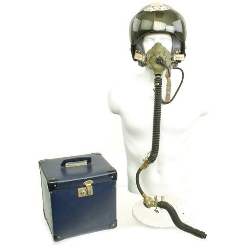 Original British Post WWII RAF MK-1A Flight Helmet with Visors - Oxygen Mask - Storage Case Original Items