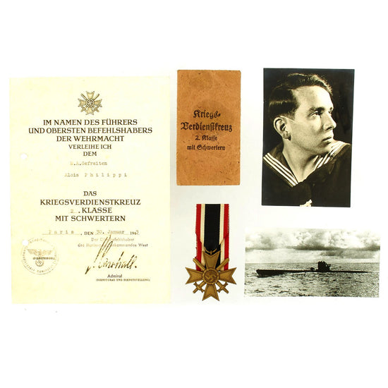 Original German WWII Identified Kriegsmarine War Service Cross Medal with Award Document, Packet and Photo Original Items