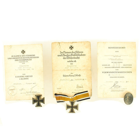 Original German WWII Set of 3 Awards with Named Documents - EKII, EKI & Silver Wound Badge Original Items