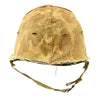 show larger image of product view 4 : Original U.S. Late WWII Korean War M1 Helmet with USMC HBT Camouflage Cover and Firestone Liner Original Items