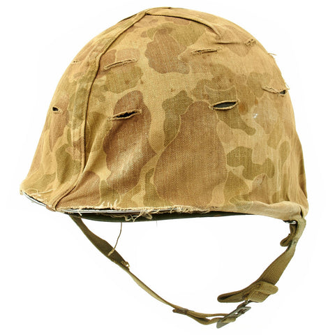 Original U.S. Late WWII Korean War M1 Helmet with USMC HBT Camouflage Cover and Firestone Liner Original Items