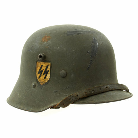 Original Austrian WWI M17 Helmet Converted WWII German SS with Double Paper Decals - Size 66 Original Items