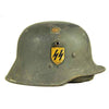 show larger image of product view 2 : Original Austrian WWI M17 Helmet Converted WWII German SS with Double Paper Decals - Size 66 Original Items