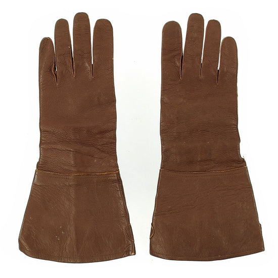 Original German WWII Luftwaffe Unit marked Long Leather Gauntlet Flight Gloves by Friedrich Dorner - dated 1939