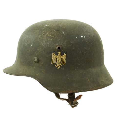 Original German Pre-WWII Army Heer M35 Single Decal Steel Helmet with 1937 dated Liner - Size 64 Original Items
