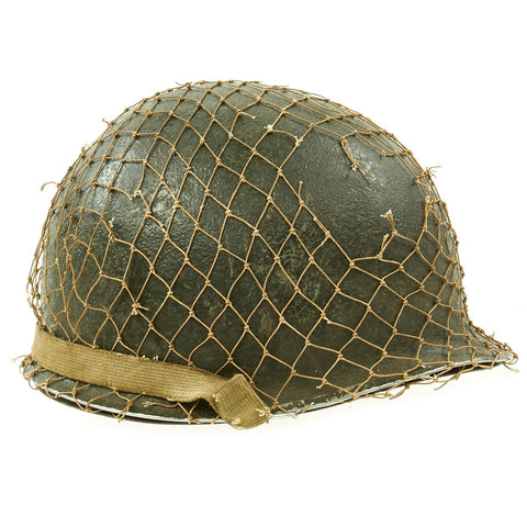 Original U.S. WWII 1944 M1 McCord Swivel Bale Front Seam Helmet with Firestone Liner and Helmet Net Original Items
