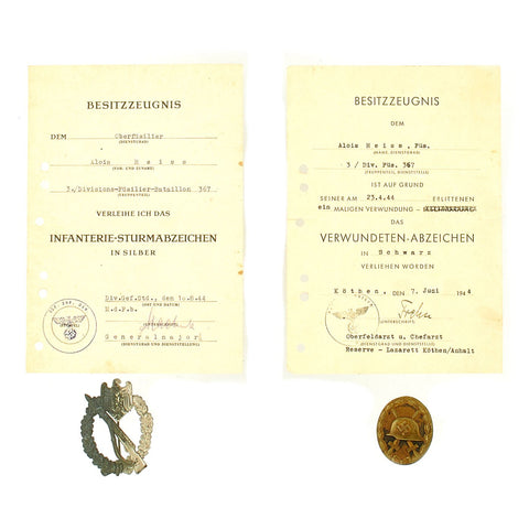 Original German WWII Black Wound Badge & Silver Infantry Assault Badge with Named Award Documents - Dated 1944 Original Items