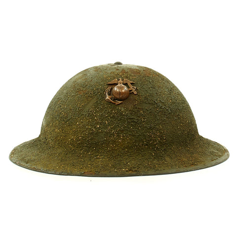 Original U.S. Early WWII USMC Marine M1917A1 Kelly Helmet as used in the Battle of Wake Island Original Items