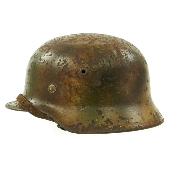 Original German WWII Normandy Camouflage M40 Helmet with Unit Markings and 56cm Liner - Q64 Original Items