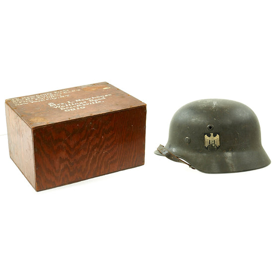 Original German WWII Army Heer M40 Single Decal Helmet in Named USN Seabee Bring-Back Box - Q64 Original Items