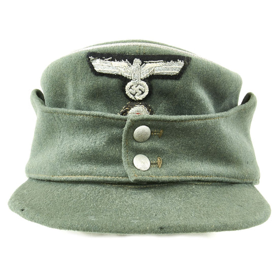 Original German WWII Early Pattern Heer Army Officer Feldmütze Field Cap with Bullion Insignia - Bergmütze Style Original Items