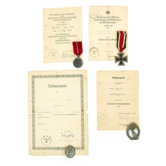 Original German WWII Set of 4 Awards with Documents named to Dutch Volunteer Anton van Es Original Items