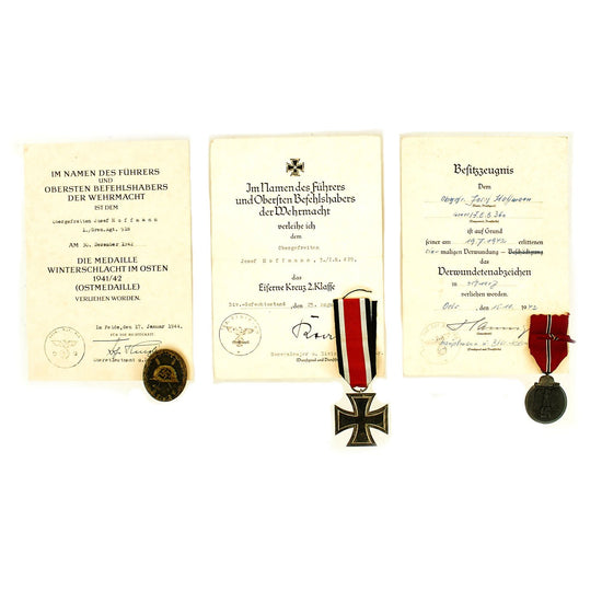 Original German WWII Set of 3 Awards with Documents named to Obergefreiter Josef Hoffmann Original Items