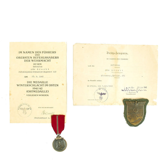Original German WWII Eastern Front Medal and Crimea Shield with Documents named to Gefreiter Otto Brecht Original Items