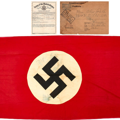 Original German WWII U.S. Named POW Stalag XIIA Captured National Flag Banner Signed with Documents Original Items