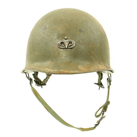 Original U.S. Vietnam War M1 Helmet with Paratrooper Liner and Senior Jump Wings Original Items