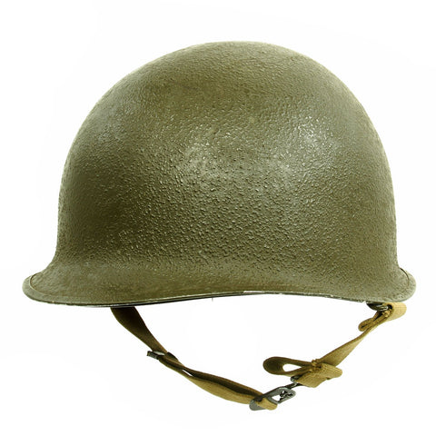 Original U.S. WWII 1944 M1 McCord Swivel Bale Front Seam Helmet with Westinghouse Liner Original Items