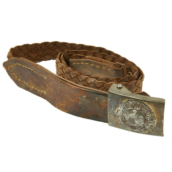 Original Imperial German WWI  Prussian Steel Buckle with Souvenier Leather Belt