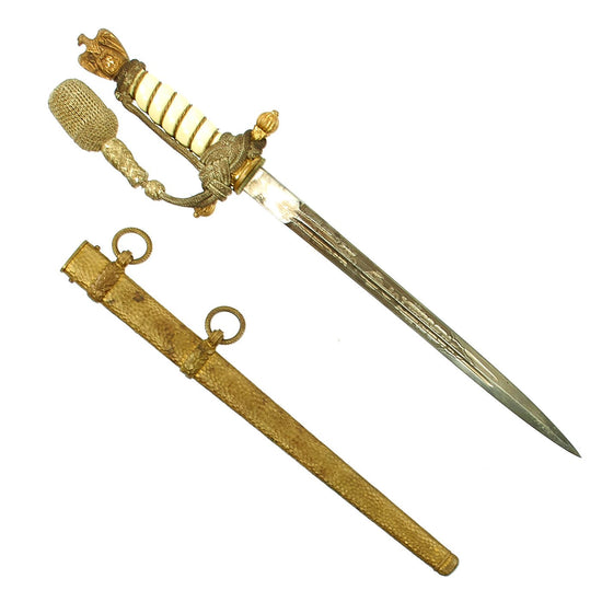 Original WWII German 2nd Model Naval Dagger by P.D. Lüneschloss with Hammered Scabbard & Portepee Original Items