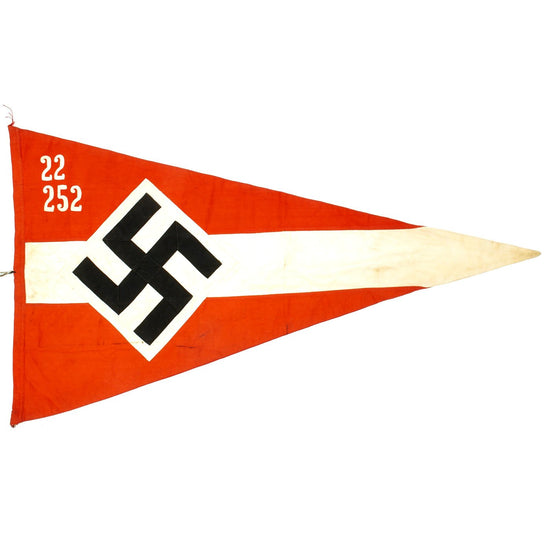 "Original German WWII Hitler Youth Unit Marked 38"" x 21"" Pennant Flag - Hitlerjugend Original Items"