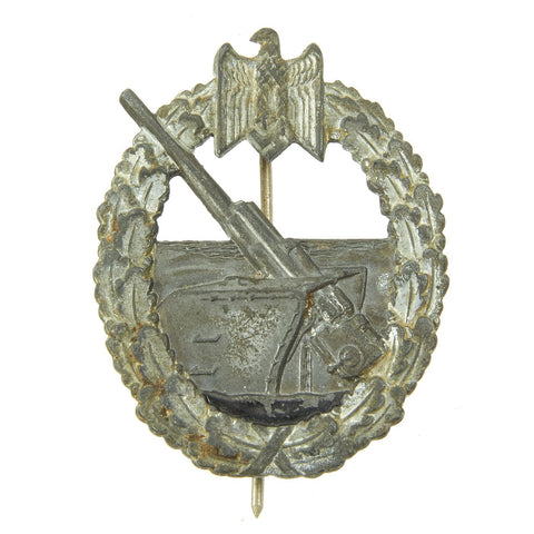 Original German WWII Kriegsmarine Coastal Artillery Badge by C. E Juncker Berlin Original Items