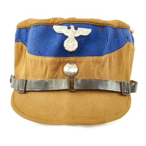Original German WWII SA Stormtrooper Tan and Blue Kepi from Gruppe Warthe with RZM Tag - Size 55 Original Items