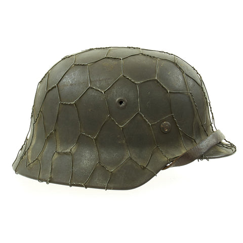 Original German WWII Named Army Heer M40 Chicken Wire Steel Helmet with Size 58 Liner - ET66 Original Items