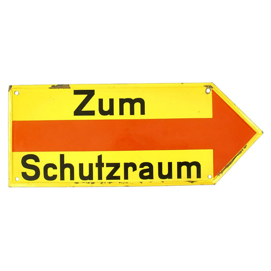Original German WWII RLB Luftschutz Air Raid Shelter Directional Sign - Zum Schutzraum Original Items
