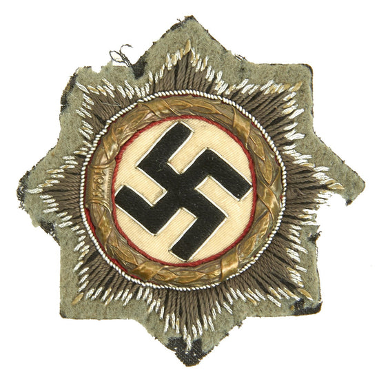 Original German WWII Heer Gold 1941 German Cross Award Embroidered Cloth Badge - Uniform Cutoff Original Items