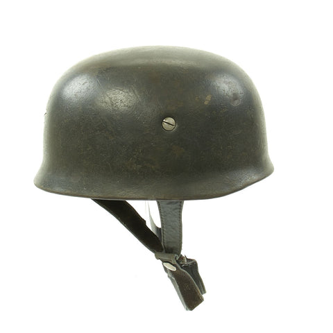 Original German WWII M38 Luftwaffe Fallschirmjäger Paratrooper Helmet with Replica Chinstrap - ET66 Original Items