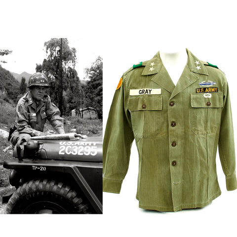 Original U.S. 1960s Major General David Warren Gray HBT Shirt Original Items