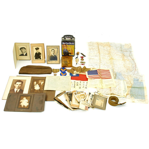 Original U.S. WWII USAAF Named Pacific Theater Blood Chit, Silk Map, Photo and Personal Memento Set Original Items