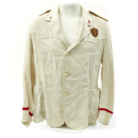 Original Italian WWII MVSN Officer Summer White Uniform Jacket