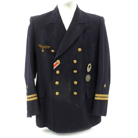 Original German WWII Kriegsmarine Oberleutnant zur See Reefer Jacket with Medals Original Items