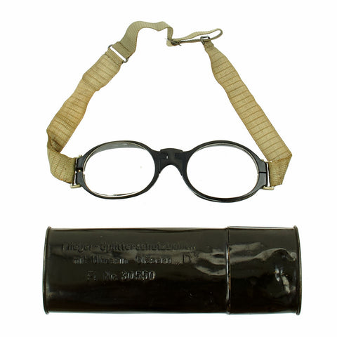 Original German Luftwaffe Fighter Pilot Splinter Goggles Ultrasin Glasses Type D with Tin Original Items