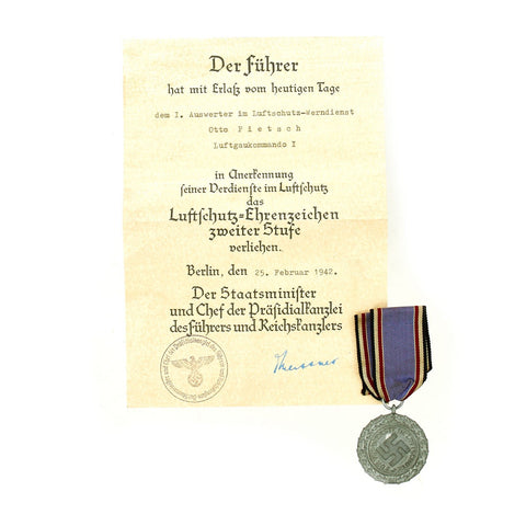 Original German WWII RLB Luftschutz Air Defense Medal 2nd Grade with Ribbon and Award Document Original Items