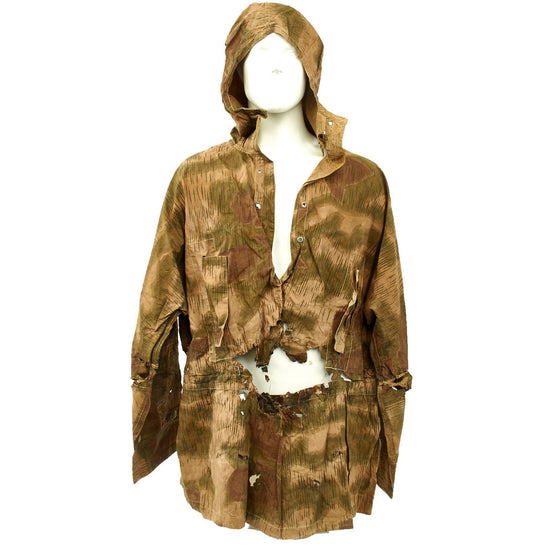 Original German WWII Late War Service Worn Linen Tan and Water Camouflage Sniper Smock with Hood Original Items