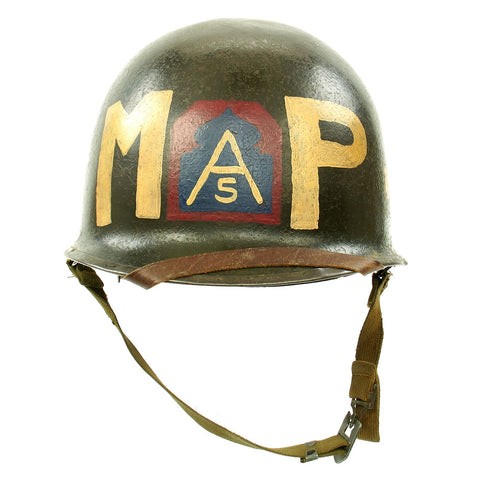 Original U.S. WWII Fifth Army MP Helmet - Schlueter Rear Seam with Westinghouse Liner Original Items