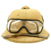show larger image of product view 3 : Original German WWII First Model DAK Afrikakorps Sun Helmet with Badges and Eye Shields - Size 57 Original Items