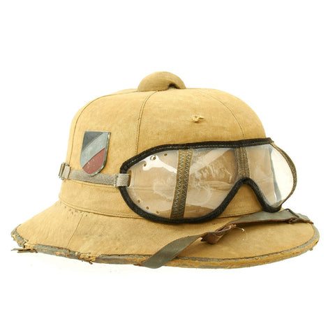 Original German WWII First Model DAK Afrikakorps Sun Helmet with Badges and Eye Shields - Size 57 Original Items