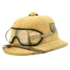 show larger image of product view 2 : Original German WWII First Model DAK Afrikakorps Sun Helmet with Badges and Eye Shields - Size 57 Original Items