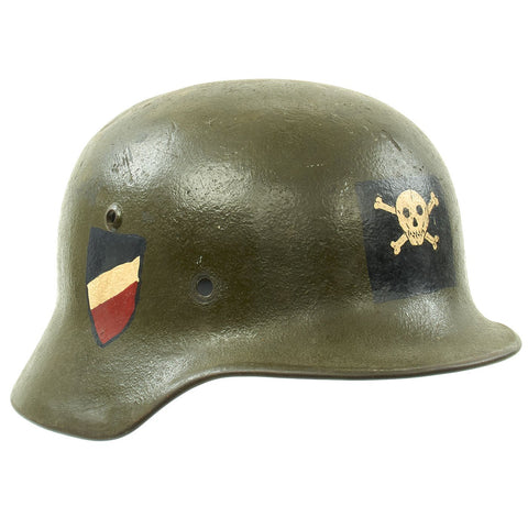Original German WWII USGI Decorated M35 Steel Helmet Shell - EF64
