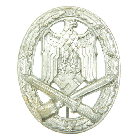 Original German WWII Silver Grade Hollow Back General Assault Badge - Excellent Condition Original Items