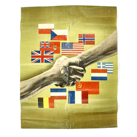 Original U.S. WWII Allied Handshake Propoganda Poster Original Items