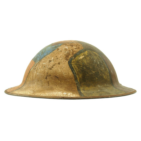 Original U.S. WWI M1917 Doughboy Helmet Shell with Panel Camouflage Paint Original Items