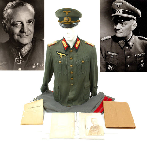 Original German WWII General Hans-Ludwig Speth Uniform, Photos, and Documents Grouping Original Items