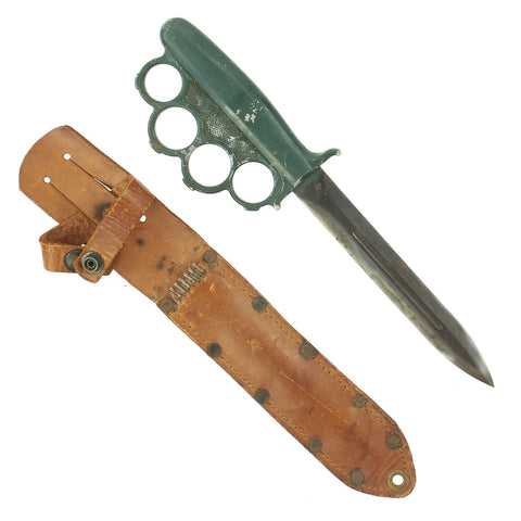 Original Rare U.S. WWII Everitt Green Handle Knuckle Fighting Knife with Scabbard Original Items
