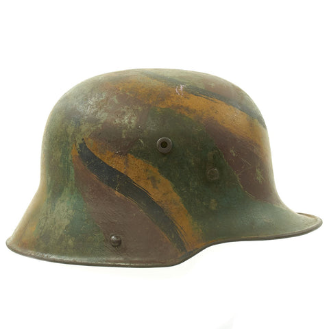 Original Imperial German WWI M16 Stahlhelm Helmet Shell with Panel Camouflage Paint - marked Si.66 Original Items