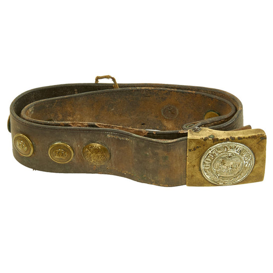 Original Imperial German WWI Hate Belt with Gott Mit Uns Prussian Buckle & 9 Buttons Original Items