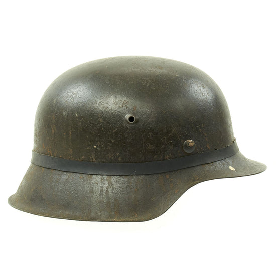 Original German WWII M42 Army Heer Helmet with Foliage Rubber Band and 57cm Liner - hkp64 Original Items